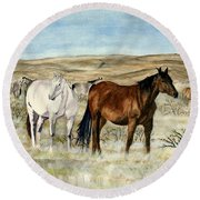 Round Beach Towel featuring the painting Nine Horses by Melly Terpening