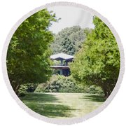 Round Beach Towel featuring the painting Norfolk Botanical Garden 1 by Lanjee Chee