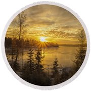 Round Beach Towel featuring the photograph Norway by Rose-Maries Pictures