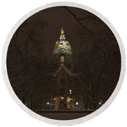 Notre Dame Golden Dome Snow Round Beach Towel by John Stephens