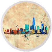 Nyc Grunge Round Beach Towel