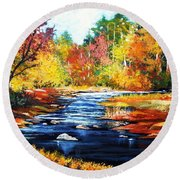 Round Beach Towel featuring the painting October Bliss by Al Brown
