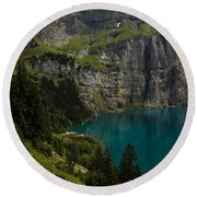 Oeschinensee - Swiss Alps - Switzerland Round Beach Towel