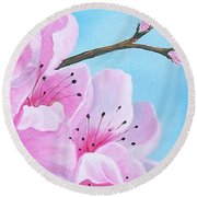 #2 Of Diptych Peach Tree In Bloom Round Beach Towel