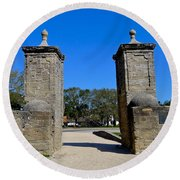 Old City Gates Of St. Augustine Round Beach Towel