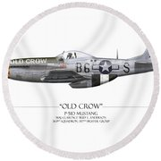 Old Crow P-51 Mustang - White Background Round Beach Towel