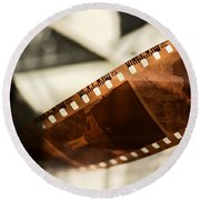 Old Film Strip And Photos Background Round Beach Towel