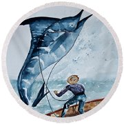 Old Man And The Sea Round Beach Towel