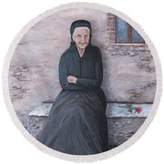 Old Woman Waiting Round Beach Towel by Judy Kirouac