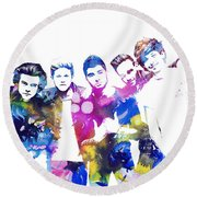 One Direction Round Beach Towel by Doc Braham