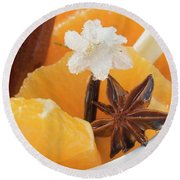 Orange Slices With Star Anise, Lemon Grass And Sugared Flower Round Beach Towel