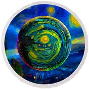 Orbiting A Starry Night  Round Beach Towel by Robin Moline