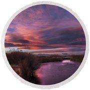 Owens River Sunset Round Beach Towel