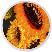Painted Sunflowers Round Beach Towel