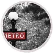 Paris Metro Round Beach Towel by Elena Elisseeva