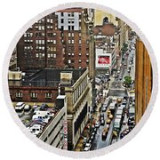 Round Beach Towel featuring the photograph Park N Lock by Lilliana Mendez