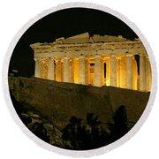 Parthenon Round Beach Towel by Ellen Henneke
