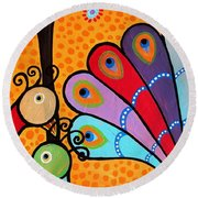 Round Beach Towel featuring the painting 2 Peacocks And Tree by Pristine Cartera Turkus