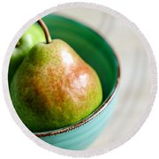 Pears Round Beach Towel by Nailia Schwarz