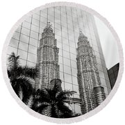 Petronas Towers Reflection Round Beach Towel