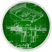 Pinball Machine Patent 1939 - Green Round Beach Towel by Stephen Younts