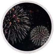 Round Beach Towel featuring the photograph Pink Fireworks by Lilliana Mendez