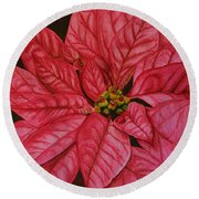 Poinsettia Round Beach Towel by Marna Edwards Flavell