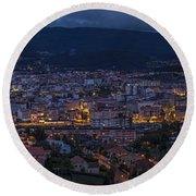 Round Beach Towel featuring the photograph Pontevedra Panorama From A Caeira by Pablo Avanzini