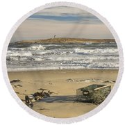 Popham Beach On The Maine Coast Round Beach Towel by Keith Webber Jr