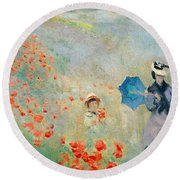Poppies At Argenteuil Round Beach Towel