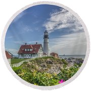 Round Beach Towel featuring the photograph Portland Headlight by Jane Luxton