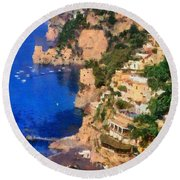 Positano Town In Italy Round Beach Towel