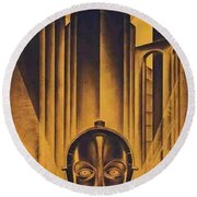 Poster From The Film Metropolis 1927 Round Beach Towel