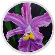 Round Beach Towel featuring the painting Purple Orchid by Jenny Lee