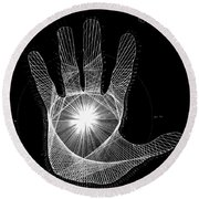 Quantum Hand Through My Eyes Round Beach Towel