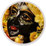 Radha Krishna Idol Hinduism Religion Religious Spiritual Yoga Meditation Deco Navinjoshi  Rights Man Round Beach Towel