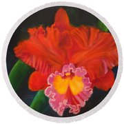 Round Beach Towel featuring the painting Red Orchid by Jenny Lee