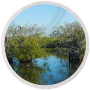 Reflection Of Trees In A Lake, Anhinga Round Beach Towel
