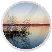 Reflections On Lake Jackson Tallahassee Round Beach Towel