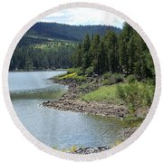 River Reservoir Round Beach Towel