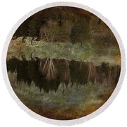 Riverbank Round Beach Towel by Kathy Bassett