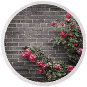 Roses On Brick Wall Round Beach Towel