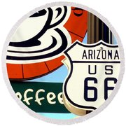 Route 66 Coffee Round Beach Towel by Valerie Reeves