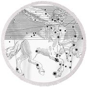 Sagittarius Constellation Zodiac Sign Round Beach Towel