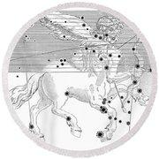 Sagittarius Constellation Zodiac Sign Round Beach Towel by Science Source