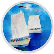 2 Sailboats Round Beach Towel