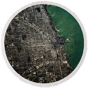 Satellite View Of Chicago And Lake Round Beach Towel