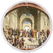 School Of Athens Round Beach Towel