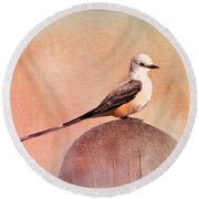 Scissor-tailed Flycatcher Round Beach Towel