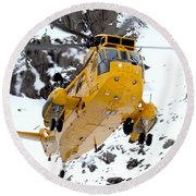 Seaking Helicopter Round Beach Towel by Paul Fearn